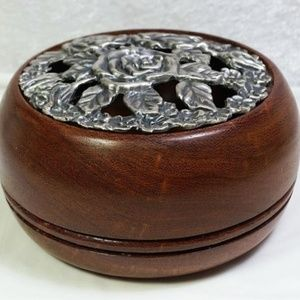 Mesquite Wood Bowl Box Pewter Lid Signed Artist
